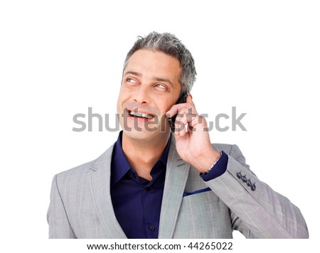 Laughing Businessman on phone looking up against a white background