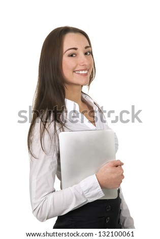 laughing businesswoman with tablet pc under her arm