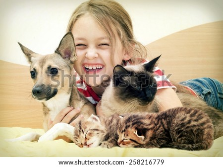 laughing child and a cat and a dog and kittens