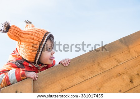 Laughing child on playground