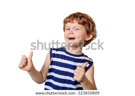 Laughing child showing thumbs up. Photo isolated in white. - stock photo