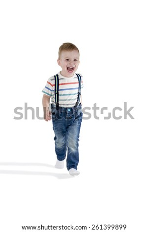 Laughing child walks to the camera isolated on white background - stock photo