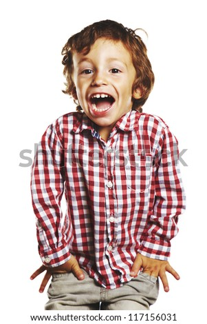Laughing child with hands in pockets. Beautiful child isolated on white background - stock photo