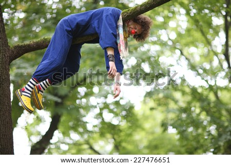 Laughing clown lies on tree branch - stock photo