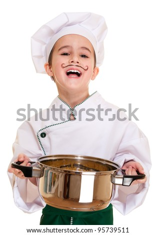 Laughing cookee boy in hood with macaroni pot in hands isolated on white - stock photo