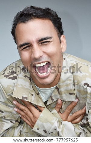 Laughing Diverse Male Soldier