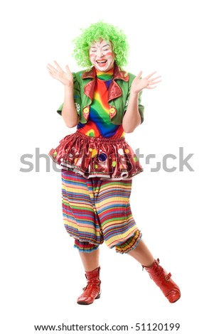 Laughing female clown. Isolated on white background - stock photo