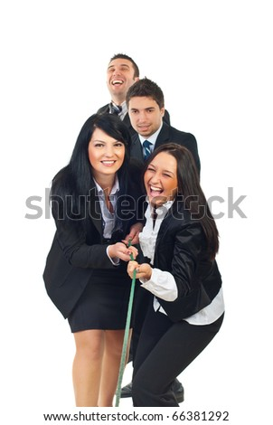 Laughing four team of business people playing tug of war isolated on white background - stock photo