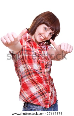 laughing girl in a shirt giving thumbs-up on a white background