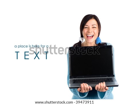 Laughing girl with laptop and a sample of text - stock photo