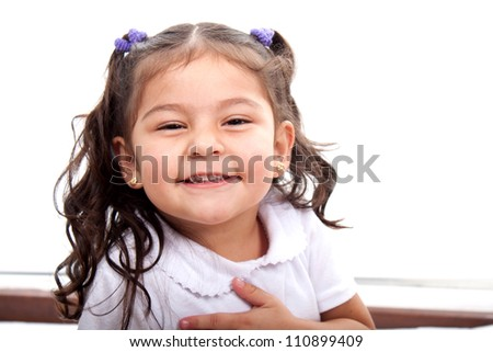 Laughing happy girl on background - stock photo