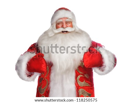 Laughing happy Santa Claus pointing his hands isolated over white and wants to hug you - stock photo