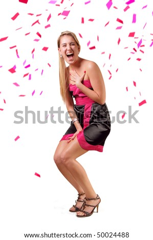 Laughing lady on white background
