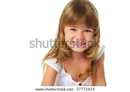 laughing little girl; closeup face