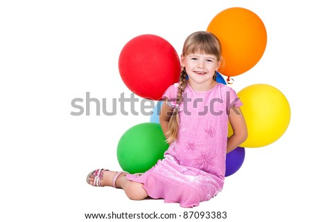 laughing little girl holding balloons bunch isolated on white background - stock photo
