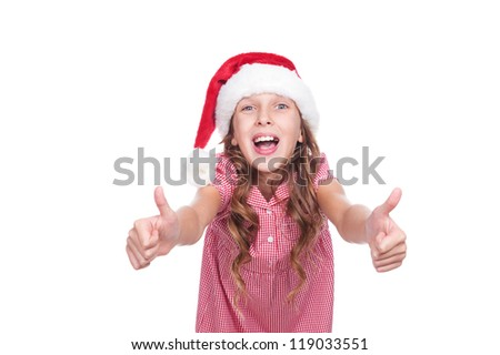 laughing little girl in santa claus hat. isolated on white background - stock photo