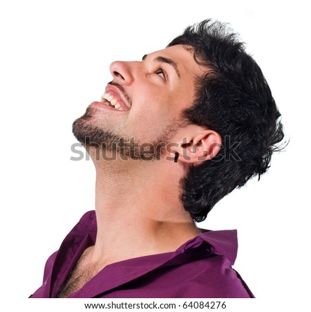 laughing man.portrait of the real man on a white background. - stock photo