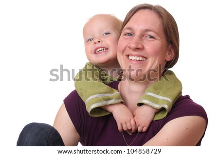 Laughing mother and child on white background - stock photo