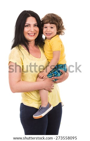 Laughing mother holding toddler son isolated on white background - stock photo
