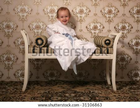 laughing retro baby - stock photo