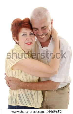 Laughing Seniou couple in studio on white background - stock photo