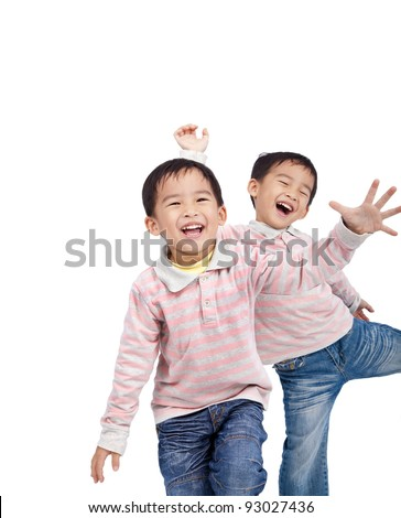 laughing small asian kids isolated on white background - stock photo