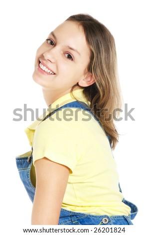 laughing teenage girl on white background - stock photo