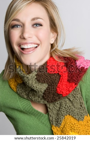 Laughing Winter Woman - stock photo