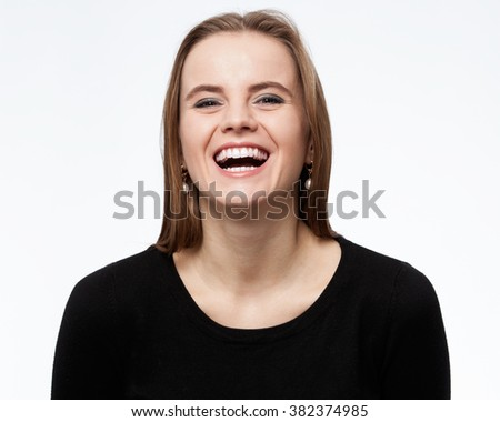 Laughing woman isolated on white background
