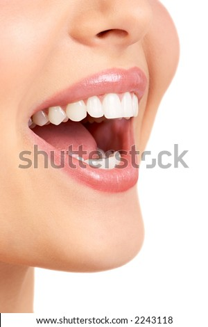 Laughing woman mouth - stock photo