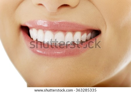 Laughing woman smile. - stock photo