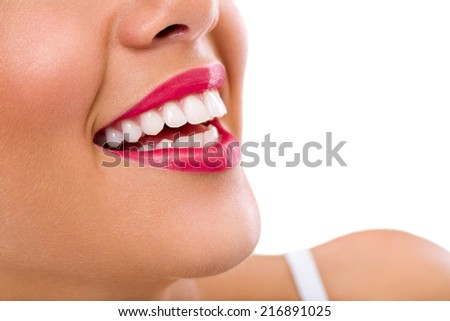 Laughing woman smile with great teeth. - stock photo