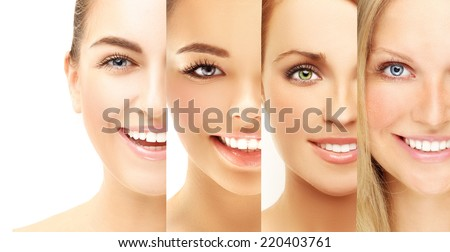 Laughing  women of different ethnic groups  with different skin types .Freckle - stock photo