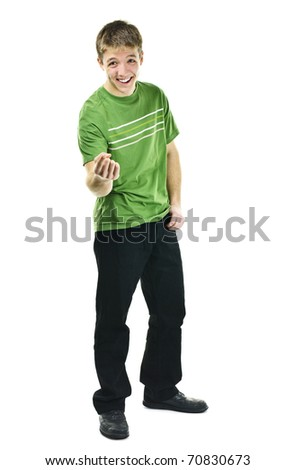 Laughing young man standing full body isolated on white background - stock photo