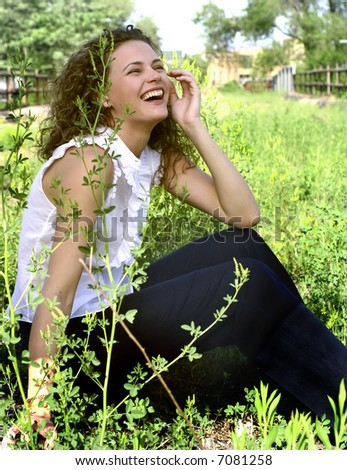 laughing young woman - stock photo