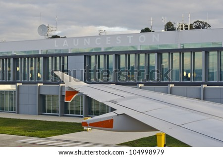 Launceston airport building showing wing of plane. Launceston, Tasmania, Australia - stock photo