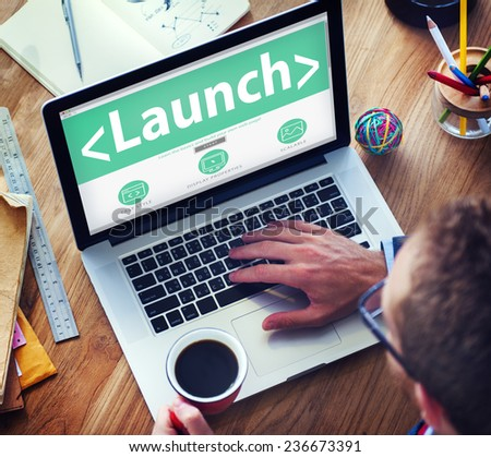 Launch Goals Aspiration Target Dreams Office Browsing Concept - stock photo