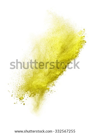 Launched colorful powder, isolated on white background. - stock photo
