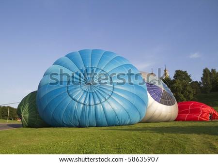 launching a hot air balloon - stock photo