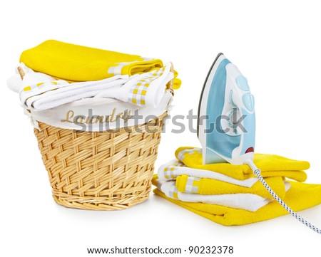 Laundry Basket and iron - stock photo