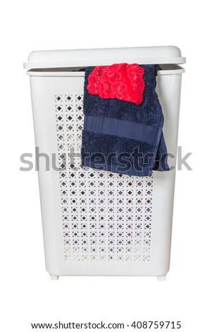laundry basket isolated on white background - stock photo