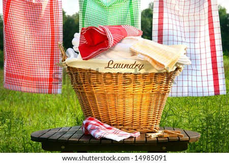 Laundry basket on rustic table with clothesline - stock photo
