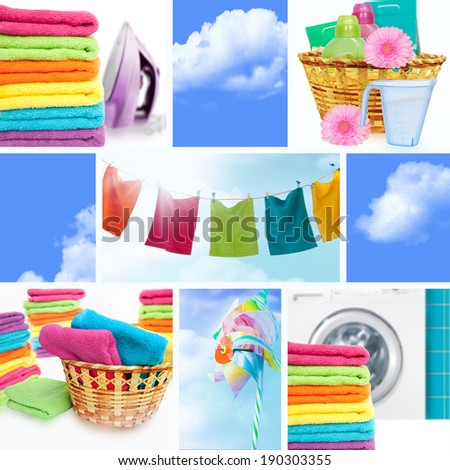 Laundry concept collage - stock photo