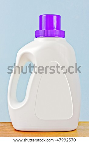 Laundry detergent plastic bottle with blank white label for your text or logo