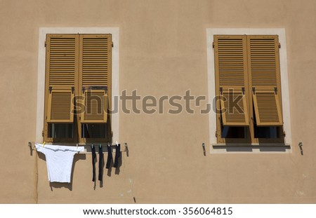 laundry drying in the sun - stock photo