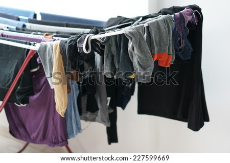 Laundry hanging to get dry - stock photo