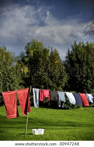 Laundry line - stock photo