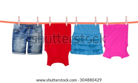 Laundry line with clothes isolated on white background