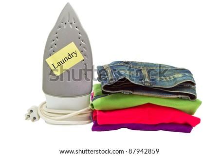laundry service on white background - stock photo