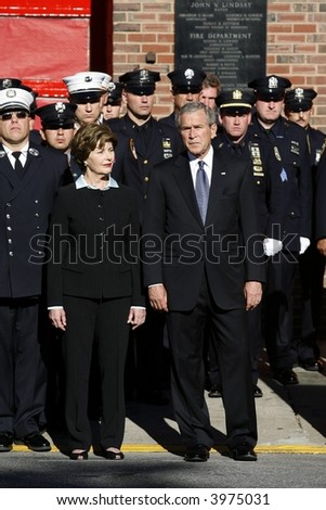 Laura and George Bush - stock photo